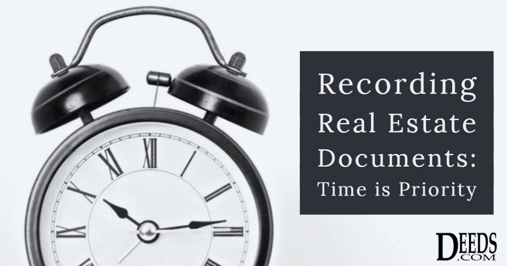 Image of a clock. Captioned: Recording Real Estate Documents: Time is Priority