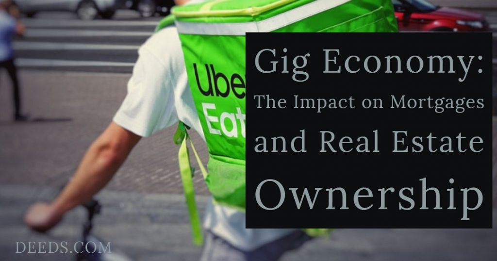 Image of a delivery person on a bike with a food container backpack. Captioned: Gig Economy: The Impact on Mortgages and Real Estate Ownership