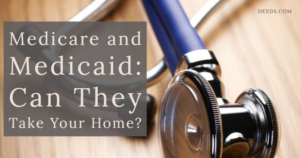 Image of a doctor's stethoscope laying on a table. Captioned: Medicare and Medicaid: Can They Take Your Home?