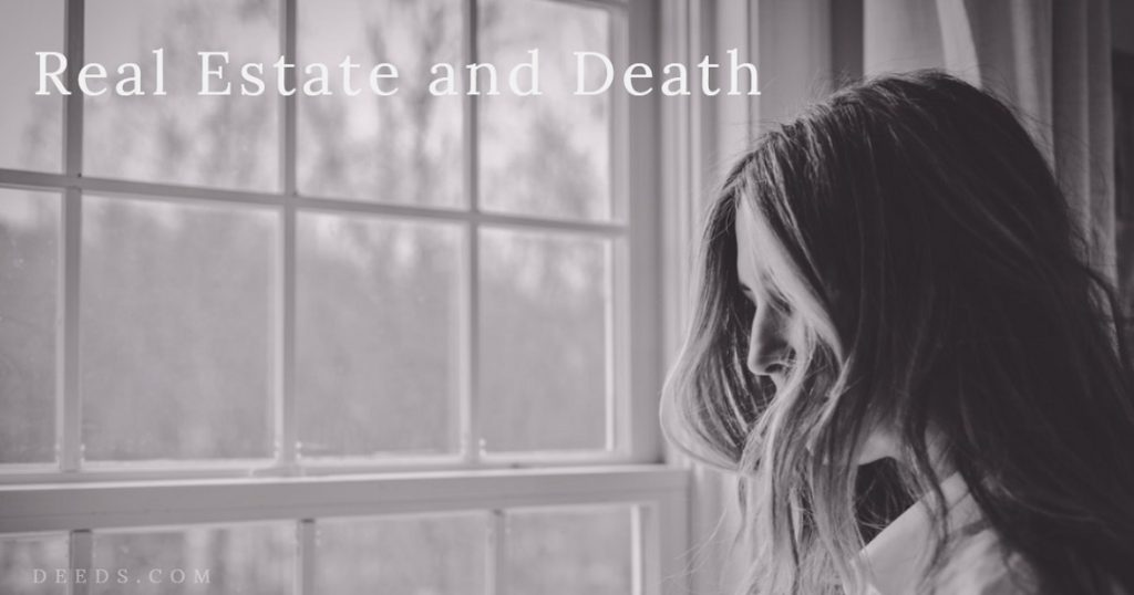 Image of a woman that looks sad standing next to a window inside a home. Captioned: Real Estate and Death.