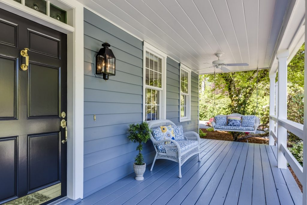 Image of a very clean front porch on a house.