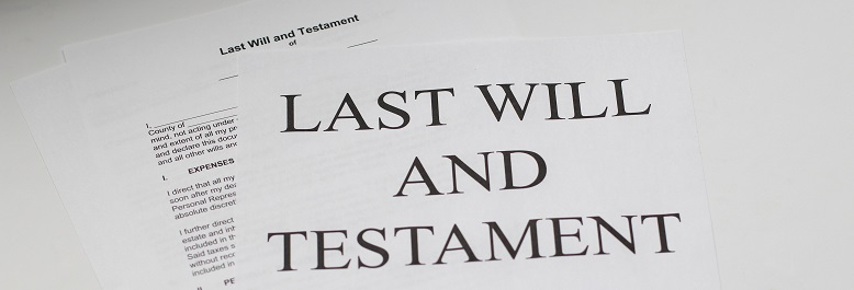 Image of paper legal documents for the last will and testament. Captioned: What Happens When Wills and Deeds Conflict?