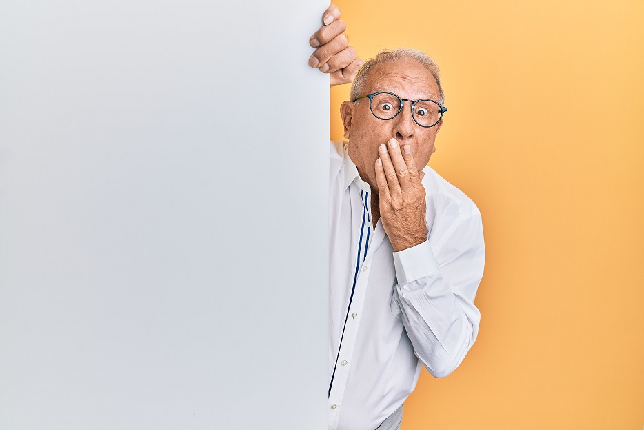 Image of an elderly person looking from behind a wall in a surprised manner. Captioned: Don't Be the Intestate Homeowner