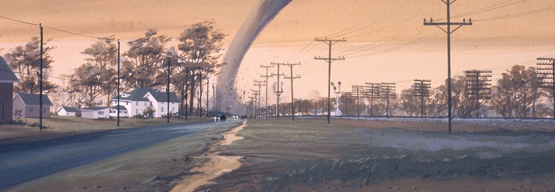 Image of a tornado near a town. Captioned: How a Sudden Disaster Impacts Your Mortgage Loan