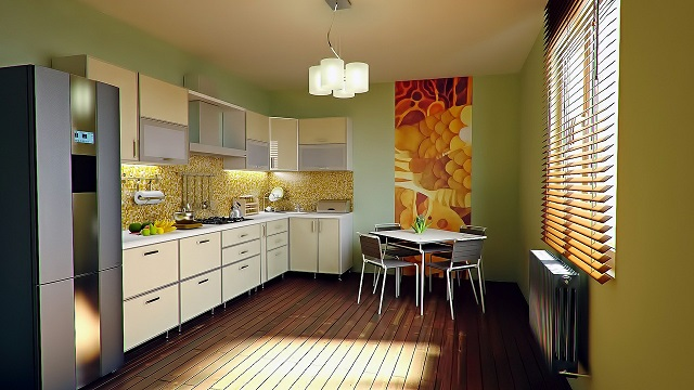 Image of a dining/kitchen area of a small apartment.