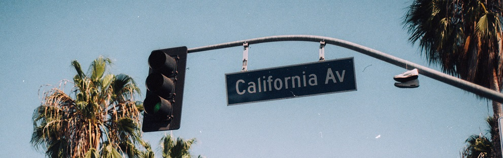 """Image of a street sign reading """"California Av"""" with blue sky and palm trees in the background."""