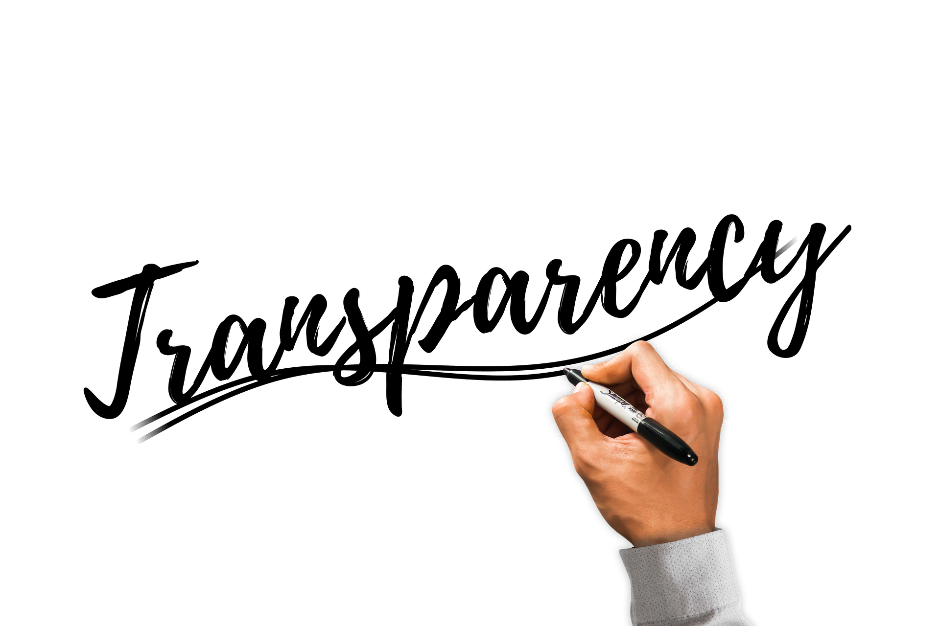 Image of the word Transparency as if it was written on a whiteboard. The is a hand holding a marker made to appear like it has written the word.