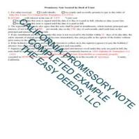 San Bernardino County Completed Example of the California Promissory Note Page 1