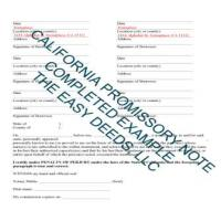Completed Example of the California Promissory Note Page 2 | Los Angeles County California
