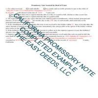 Tuolumne County Completed Example of a Promissory Note Page 1