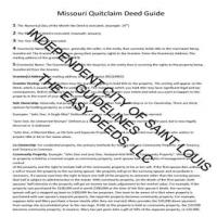 Quit Claim Deed Guide Page 1 | Saint Louis City Missouri