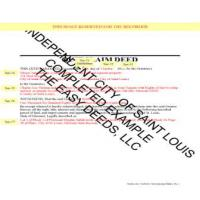 Completed Example of a Quit Claim Deed Page 1 | Saint Louis City Missouri