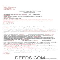 Noble County Completed Example of the Personal Representative Deed Power of Sale Document Page 1