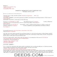 Cherokee County Completed Example of the Personal Representative Deed of Sale Document Page 1
