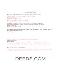 Baltimore City Completed Example of the Quit Claim Deed Document Page 1