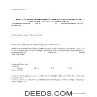 New York County Bargain and Sale Deed Without Covenants Form Page 1