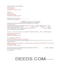 Pickens County Completed Example of the Correction Quit Claim Deed Document Page 1