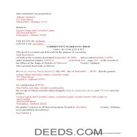 Wilcox County Completed Example of the Correction Warranty Deed Document Page 1