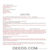 Huerfano County Completed Example of the Warranty Deed Document Page 1