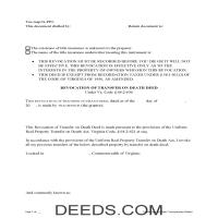Alleghany County Transfer on Death Revocation Form Page 1