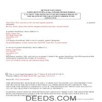 Las Animas County Completed Example of the Beneficiary Deed Document Page 1