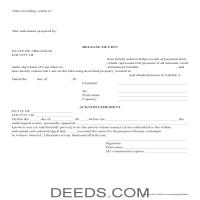 Lee County Release of Mechanic Lien Form Page 1