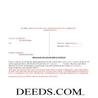 Howard County Completed Example of the Release of Lis Pendens document Page