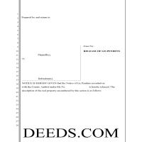 Whitman County Release of Lis Pendens Form Page 1