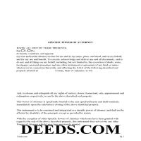 Lee County Specific Power of Attorney for the Sale of Property Form Page 1