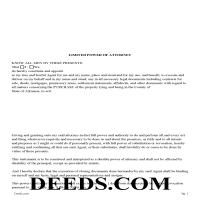 Ouachita County Limited Power of Attorney for Purchase of Property Form Page 1