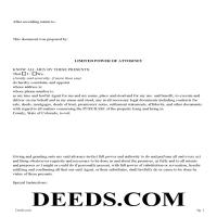 Larimer County Limited Power of Attorney Form for the Purchase of Property Page 1