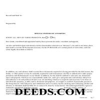 White County Special Power of Attorney Form for the Purchase of Property Page 1