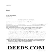 Jeff Davis County Specific Power of Attorney Form for the Sale of Property Page 1