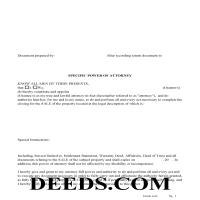 Harrison County Specific Power of Attorney Form for the Sale of Property Page 1