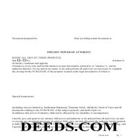 Washington County Specific Power of Attorney for the Purchase of Property Page 1