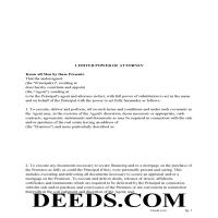 Belmont County Limited Power of Attorney Form Page 1