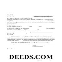 Pickens County Release of Mortgage Form Page 1