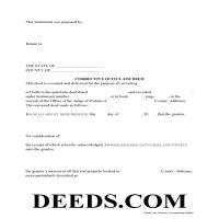 Pickens County Correction Quit Claim Deed Form Page 1