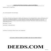 Chaffee County Preliminary Notice of Mechanics Lien Form Page 1