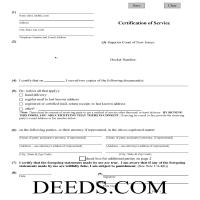 Somerset County Certificate of Service Form Page 1