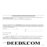 Putnam County Unconditional Waiver and Release of Mechanics Lien Form Page 1
