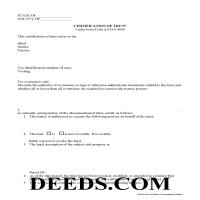 Cass County Certificate of Trust Form Page 1