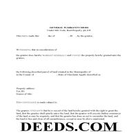 Garrett County Warranty Deed Form Page 1