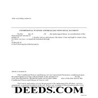 Queen Annes County Conditional Lien Waiver on Final Payment Form Page 1