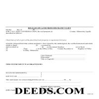 Brown County Release of Mechanics Lien Form Page 1