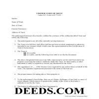 Darlington County Certificate of Trust Form Page 1