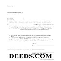 Spink County Affidavit of Deceased Joint Tenant Form Page 1