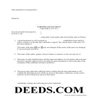 Miner County Certificate of Trust Form Page 1