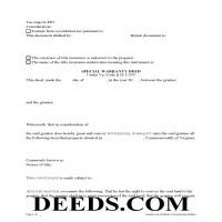 Martinsville City Special Warranty Deed Form Page 1