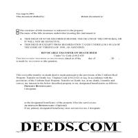 Mecklenburg County Transfer on Death Deed Form Page 1